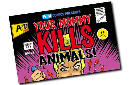 Part of a PETA publication, actually aimed at children. Full image depicts a woman stabbing a rabbit.